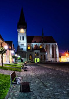 Bardejov, Square during summer night.