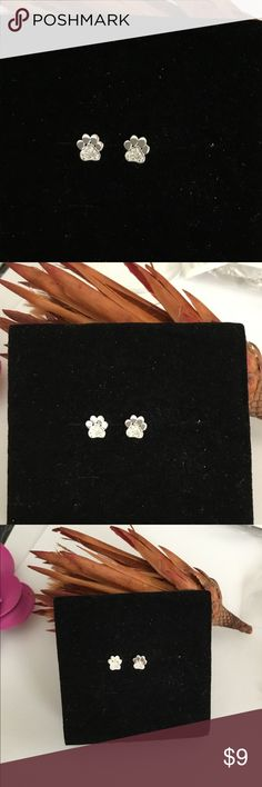 🐾 💯%925 Sterling Silver Earrings w/Crystals New 925 Stamped Super cute Accessories Jewelry