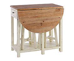 Set de mesa auxiliar con 2 taburetes en madera de pino – crema y natural