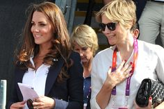 Catherine, Duchess of Cambridge (L) with Carole Annett at the Eventing Cross Country Equestrian event on Day 3 of the London 2012 Olympic Games at Greenwich Park on July 30, 2012 in London, England.