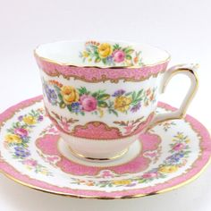 Crown Staffordshire Tea Cup and Saucer Bone China Cup by LoftyMix, $16.00