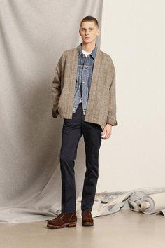 My Guy ------> Complete Visvim look featuring the damaged chore jacket and Harris Tweed Sanjuro Coat.