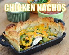 Chicken Nachos ~ quick 'n' easy with rotisserie chicken, black beans, grilled peppers, jalapeños, cheddar ~ Weight Watchers 8 PointsPlus ~ KitchenParade.com