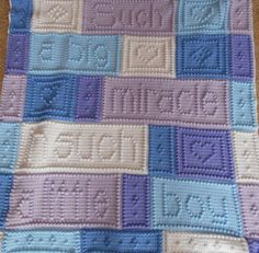 "This crocheted blanket is an original baby blanket design that is easy to complete. The blanket when finished says, ""Such a big miracle in such a little boy."" Pattern includes instructions to customize the blanket for girls or boys. The entire blanket requires only three crochet stitches - chain stitch, single crochet and the popcorn stitch. This is a pattern only and is not the finished product. The pattern includes the instructions, chart, a list of materials and the yarn amounts needed…"