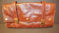 Red Envelope Brown Leather Canvas Organizer Toiletries Toiletry Case Bag NWOT   #RedEnvelope