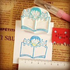 消しゴムはんこ *LuLu Cube* Eraser Stamp, Planner Doodles, Stamp Carving, Handmade Stamps, Stamp Printing, Paper Crafts, Diy Crafts, Hand Carved, Cube