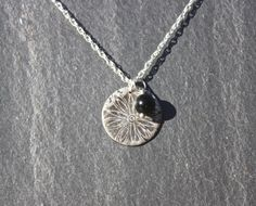 Silver Flower pendant with bead charm by MeltSilver on Etsy