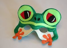 Silus the Red Eyed Tree Frog Mask for Pretend Play Rainforest Creature Rainforest Creatures, Frog Mask, Frog Facts, Frog Costume, Book Day Costumes, Boy Costumes, Best Defense, Hanging Upside Down, Red Eyed Tree Frog