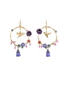 #LesNéréides #jewel #earrings #flower #animal #bird #colibri #delicate #purple #enamel #garden #handmade #romantic Shop on #www.lesnereides-usa.com