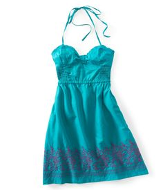 Embroidered Woven Halter Dress - Aeropostale