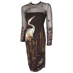 Guy Laroche Haute Couture Beaded & Embroidered Silk Cocktail Dress Circa 1980