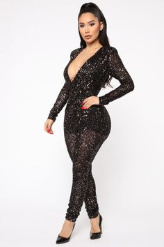 cheese Womens Slim Fitted Sequin Glitter Long Sleeve Jumpsuit