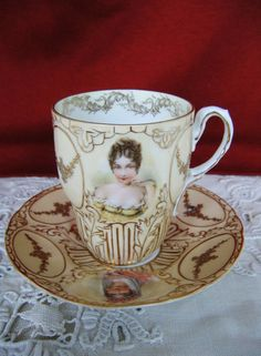 RS Prussia ROYAL SAXE Porcelain Chocolate Cup & Saucer