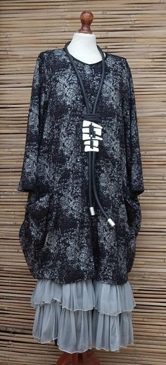 LAGENLOOK ECCENTRIC GORGEOUS OVERSIZE QUIRKY PRINT TUNIC*BLACK/WHITE* SIZE 1 in Clothes, Shoes & Accessories, Women's Clothing, Dresses | eBay