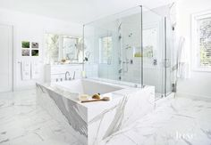 Contemporary White Bathroom with Large Glass Shower- like the idea of the tub connected to the shower - just change the marble to white subway tile and a big white tub Contemporary White Bathrooms, Transitional Bathroom, Contemporary Tile, Shower Niche, Glass Shower, Marble Bathtub, Marble Bathrooms, Drop In Tub, Black Tub