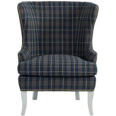 Ballard Designs Thurston Wing Chair In Suzanne Kasler Mackenzie Plaid...  ($999)