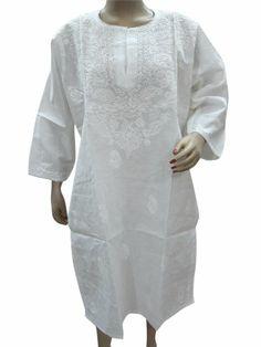 Womens Tunic Dress Kurti Top White Chikan Embroidered Cotton Kurta Tunic XXl Mogul Interior,http://www.amazon.com/dp/B00HYUAQN0/ref=cm_sw_r_pi_dp_5-W6sb1BC9STQ55V