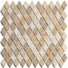 Tumbled Travertine Mosaic - Mini Rhomboid Travertine Mosaic - Mix of Light, Noce and Golden Sienna Travertine - Tumbled