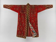 Coat (Choga) mid C 19.  Renowned for their knotted-pile carpets and storage bags, Turkmen weavers also produced magnificent examples of wearable art such as this remarkable coat. The decoration of the exterior consists of geometric and abstract floral motifs and is among the best examples of Turkmen embroidery. The abstract exterior decoration contrasts with the interior of the coat, which is lined with a bright floral-prin...