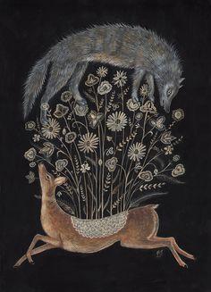 "Kelly Louise Judd a gentlewoman: "" peonyandbee: "" swan-bones: Delicate Deer Gouache on paper, x 2014 Art And Illustration, Illustration Animals, Deer Print, Art Print, Grafik Design, Art Design, Graphic, Oeuvre D'art, Painting & Drawing"