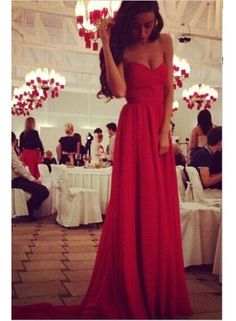 2014 Red Evening Party Dress Chiffon A line Sweetheart Pleated Charming Long Prom Dresses