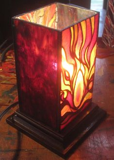 Stained glass lantern with an inset geode piece. by JButlerArt