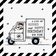 Mooie hippe verjaardagskaart met streepjes, grappig en leuk, tekst is geheel aanpasbaar. Design: Anet van de Vorst Te vinden op: www.kaartje2go.nl
