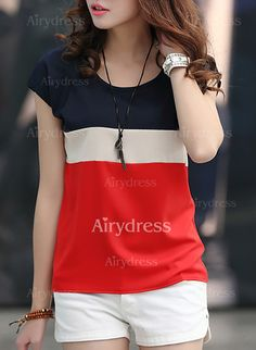 T-shirts - $9.78 - Polyester Color Block Round Neck Short Sleeve Casual T-shirts & Vests (1685137478)