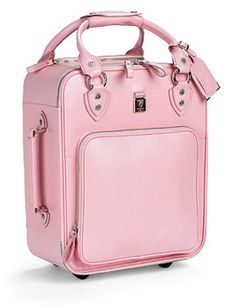 Traveling pink luggage