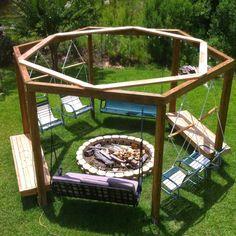 Outside Fire Pits, Cool Fire Pits, Diy Fire Pit, Fire Pit Backyard, Backyard Patio Designs, Backyard Projects, Backyard Landscaping, Backyard Ideas, Diy Projects