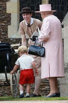 """Move over Mary Poppins. Prince George's Spanish nanny was at his little sister's christening overnight and her uniform has to be seen to be believed. Nanny Maria Teresa Turrion Borrallo is a graduate of the prestigious nanny school Norland College. According to the college's web site, the uniform was introduced so their nannies would be recognised as professionals and """"not mistaken for housemaids""""."""