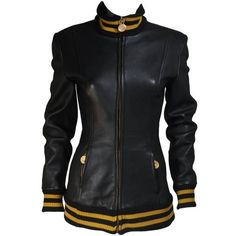 Preowned Donna Karan Varsity Style Jacket With Yellow Striped Ribbed... ($395) ❤ liked on Polyvore featuring outerwear, jackets, yellow, real leather jackets, varsity bomber jacket, college jacket, collared leather jacket and leather jackets