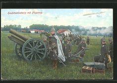 old postcard: AK Haubitzenbatterie der Artillerie in Feuerstellung