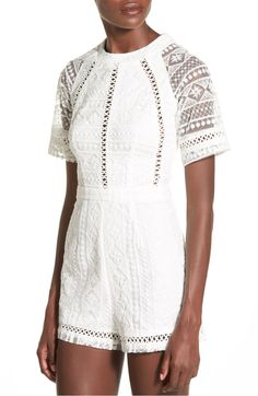 Free shipping and returns on Missguided Lace Romper at Nordstrom.com. Mesh raglan sleeves show off the intricate lace that patterns an adorable romper detailed with sweet open-stitch insets at the bodice and hems.