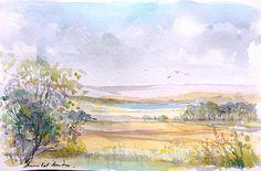 Original Watercolour Painting - Summer Landscape - by Annabel Burton