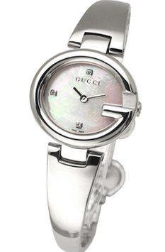 Gucci YA134504 Guccissima White MOP Dial Women's 3 Diamonds Watch 20% off retail