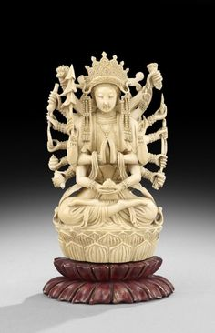 Chinese Ivory Carving of a Multi-Armed Maitreya