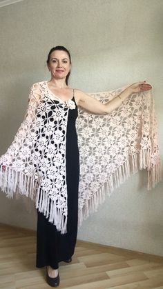 Ivory Wedding Shawl White Bridal Shawl Pin Brooch Cream Crochet Rustic Wedding Dress Wrap Vegan gift Knitting , lace processing is one of the most beautiful hobbies that girls are not able to give up. Crochet Shawls And Wraps, Knitted Shawls, Crochet Scarves, Crochet Clothes, Crochet Blouse, Wrap Wedding Dress, Rustic Wedding Dresses, Ivory Wedding, Bridal Shawl