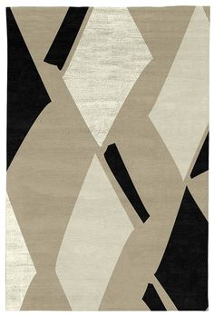 Judy Ross Hand-Knotted Custom Wool Diamonds Rug oyster/black/parchment silk/parchment