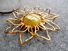 SUNFLOWER big pendant - copper wire 3D shape combined a large Gold Agate   - copper jewelry - wire jewelry