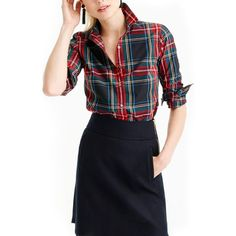 Petite Women's J.crew Perfect Stewart Plaid Shirt ($78) ❤ liked on Polyvore featuring tops, black, petite, slim fit shirts, plaid top, j crew tops, shirt top and slim fit plaid shirts