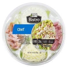 Ready Pac Foods Bistro Chef Salad Bowl Bagged Salad for a Flight Chef Salad, Salad Bar, Salad Bowls, Bistro Salad, Smoked Ham, Smoked Turkey, Salad Packaging, Gourmet Recipes, Healthy Recipes