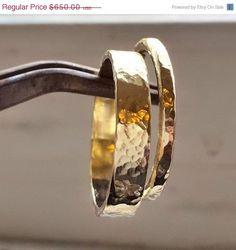 14k or jaune demi-jonc anneaux bague de mariage par VenexiaJewelry