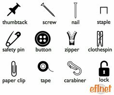 English for common tools oe fasteners. Teaching English Grammar, English Writing Skills, English Vocabulary Words, Learn English Words, English Phrases, English Idioms, English Fun, English Language Learning, English Study