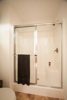"PG252A - Pinecrest Modular Ranch Master bathroom with 54"" Fiberglass walk in shower"