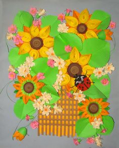 Sunflower Wall Art Quilling Art Mixed Media Home Decor Green Nature Flowers  Paper Art 3D Wall Hanging Dining Room Kitchen | Quilling Art, Quilling And  ...