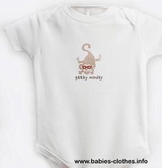 GEEKY MONKEY- ORGANIC cotton, Hand painted Baby Onesie /Bodysuit - http://www.babies-clothes.info/geeky-monkey-organic-cotton-hand-painted-baby-onesie-bodysuit.html