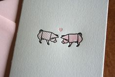 Letterpress Printed Origami Pigs in Love by twinravenspress