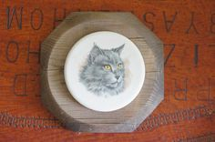 Vintage 60s-70s  Maine Coon Cat Ceramic Tile by SycamoreVintage