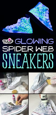 These fierce shoes look amazing under blacklight.  Get the look using Tulip Glow Dimensional Fabric Paint &Tulip dyes & paints! (Link to project page -or- product page on JoAnn)